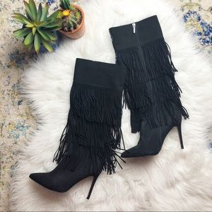 Express suede tier fringe tall boots